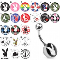 Piercing nombril logo Playboy rose n°B