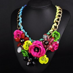 Collier mode fleurs multicolores Aymeric