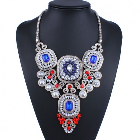 collier multicolore strass fantaisie