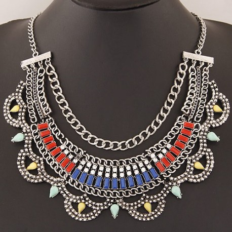 collier multicolore argenté