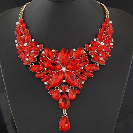 Collier rouge strass mode