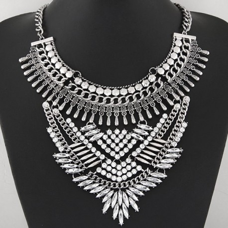 collier argenté strass fashion