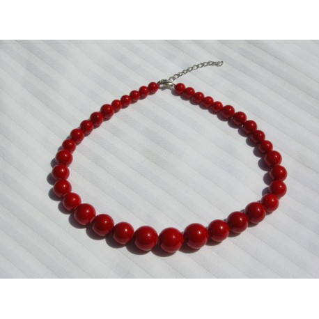 Collier perles rouge