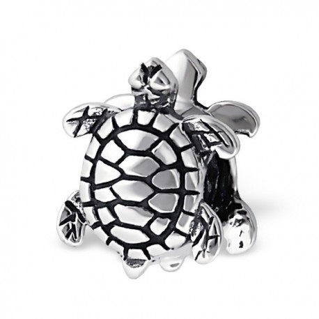 charms argent tortue