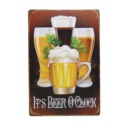 Plaque métal it's beer o'clock 20 x 30 cm