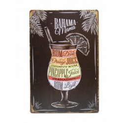 Plaque métal Cocktail Bahama Mama 20 x 30 cm