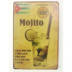 Plaque métal Cocktail Mojito 20 x 30 cm