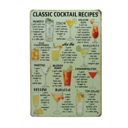 Plaque métal Cocktail 20 x 30 cm