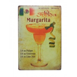 Plaque métal Cocktail Margarita 20 x 30 cm