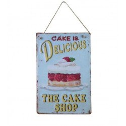 Plaque métal Cake is delicious en relief 30 x 40 cm
