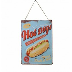 Plaque métal Hot Dogs en relief 30 x 40 cm