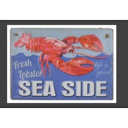 Plaque métal Homard Sea Side en relief 30 x 40 cm