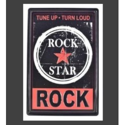Plaque métal vintage Rock Star en relief 20 x 30 cm