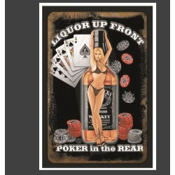Plaque métal vintage Pin up poker 20 cm x 30 cm