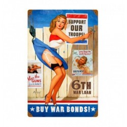 Plaque métal vintage Pin Up buy War Bonds 20 cm x 30 cm