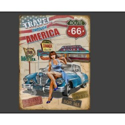 Plaque métal pin up etroute 66 20 x 30 cm