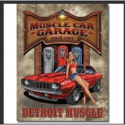 Plaque métal pin up Muscle Car 20 x 30 cm