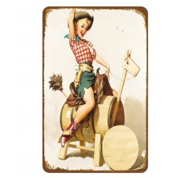 Plaque métal vintage Pin up Texas 20 x 30 cm