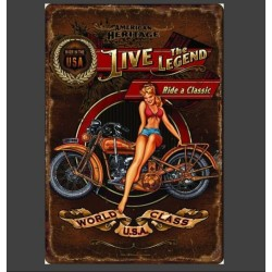 Plaque métal vintage Pin up moto Live the Legend 20 cm x 30 cm