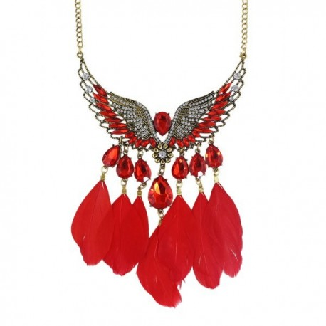 Collier plume rouge