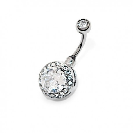 piercing nombril cristal blanc