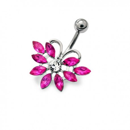 piercing nombril rose fushia