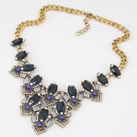 collier bleu strass