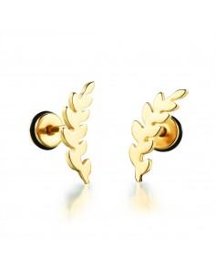 Boucles d'oreille feuille dorée