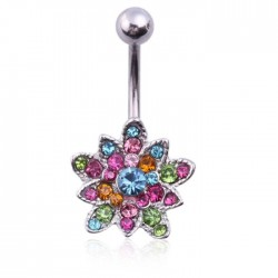 Piercing nombril fleur multicolore modèle Ambrulle