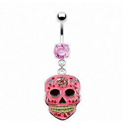 Piercing nombril skull rose style mexicain