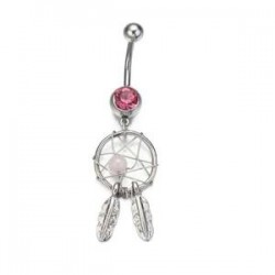 piercing nombril attrape rêve rose
