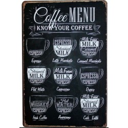 Plaque métal Coffee Menu style vintage 20 cm x 30 cm