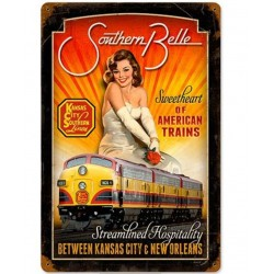 Plaque métal Kansas city trains style vintage 20 x 30 cm