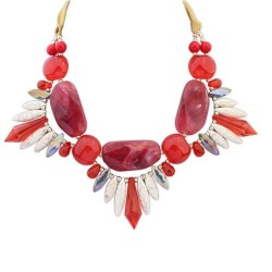 Collier rouge mode fantaisie