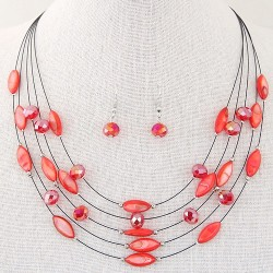 Collier multicolore rouge