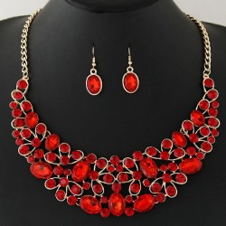 collier rouge strass Ava