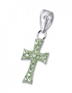 pendentif croix argent pierres vertes ariane