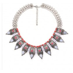 Collier blanc et rouge Aileen
