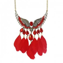 Colliers plumes rouge Asar