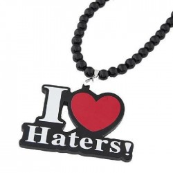 Collier en bois hip hop I love Haters modèle Allon
