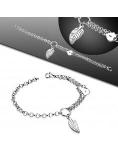 Bracelet plume en acier modèle Aceilla