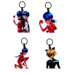 MIRACULOUS - Lot de 4 porte-clés avec led Chat Noir Ladybug Miraculous Rouge