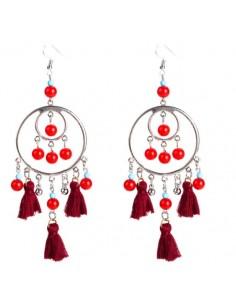 Boucles d'oreille pompons rouge modèle Agoe