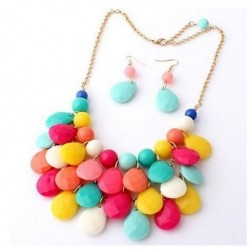 Collier multicolore alliage argenté
